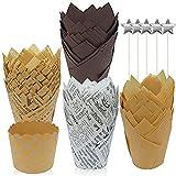 Tazas de papel para muffins,Taza de papel para hornear cupcakes,Envoltorio de moldes para magdalenas,Tazas para hornear tulipán,Magdalena de tulipán,Vasos de papel para hornear para boda (100PCS)