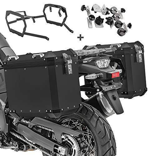 Maletas Laterales Aluminio + Soporte para BMW F 700 GS/F 650 GS 08-17 GX45 Negro