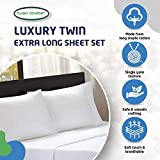 xl twin sheets egyptian cotton - PLUSHY COMFORT Luxury Twin Extra Long Sheet Set- White, in 100 Percent Luxury Egyptian Cotton, Real 600 Thread Count, 3 Piece Set Ultra Soft Silky Fabric & Creamy Feel