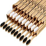 20 Pieces Biodegradable Bamboo Toothbrushes Reusable Charcoal Bamboo Toothbrush Natural Reusable Toothbrushes with BPA-free Soft Bristles and Natural Wooden Handle in Individually Packaged