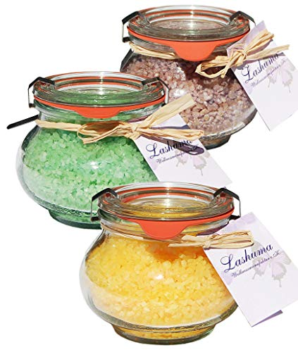 Lashuma Geschenk Badesalz Set, 3 x Weck Gläser 250 g, Duft Honig - Mandel, Schoko, Grüner Tee, Meersalz Badezusatz