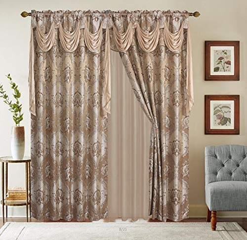 LinenTopia Classical Jacquard Window Drape Set (2 Panels), Includes Valance and Sheer Backing, Traditional Victorian Style Floral Curtain Drape Panels for Living Rooms, (Elsa, 63, Taupe)