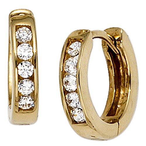 JOBO Creolen 333 Gelbgold 10 Zirkonia Gold-Ohrringe