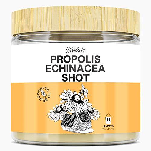 Propolis Echinacea Trinkpulver - 65 Shots - Alternative zu Propolis Tropfen, Sirup, Kapseln- Hochdosiert - Propolis Bienenharz Extrakt (10:1) 500mg