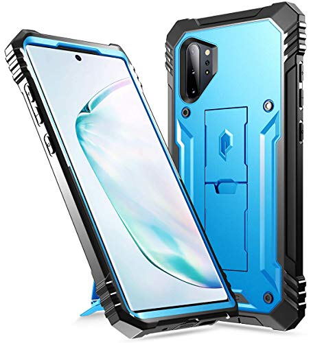 Galaxy Note 10 Plus Rugged Case with Kickstand, Poetic Heavy Duty Military Grade Full Body Cover, Without Built-in-Screen Protector, Revolution, for Samsung Galaxy Note 10+ Plus 5G, Blue