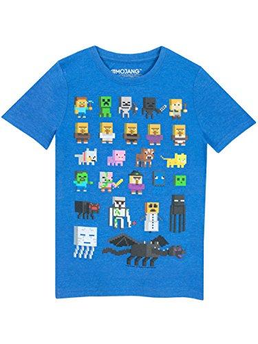 Minecraft Jungen T-Shirt Kurzarm, Blau, 11-12 Jahre