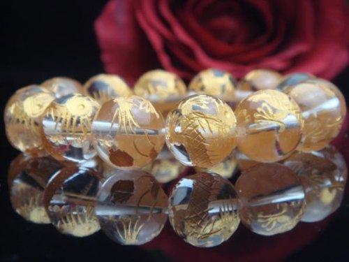【ハヤシ ザッカ】 HAYASHI ZAKKA ●AAAランク14ミリ数珠/ブレスレット ( 手彫金箔入り風水四神獣 クリスタル) クリスタル金龍 4015B L(内周17.5cm前後)