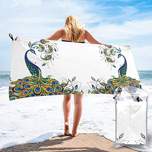 Beach Towels Toalla liviana de secado rápido de pavo real exuberante Toalla súper absorbente sin arena para viajes, natación, gimnasio, yoga 140X70CM