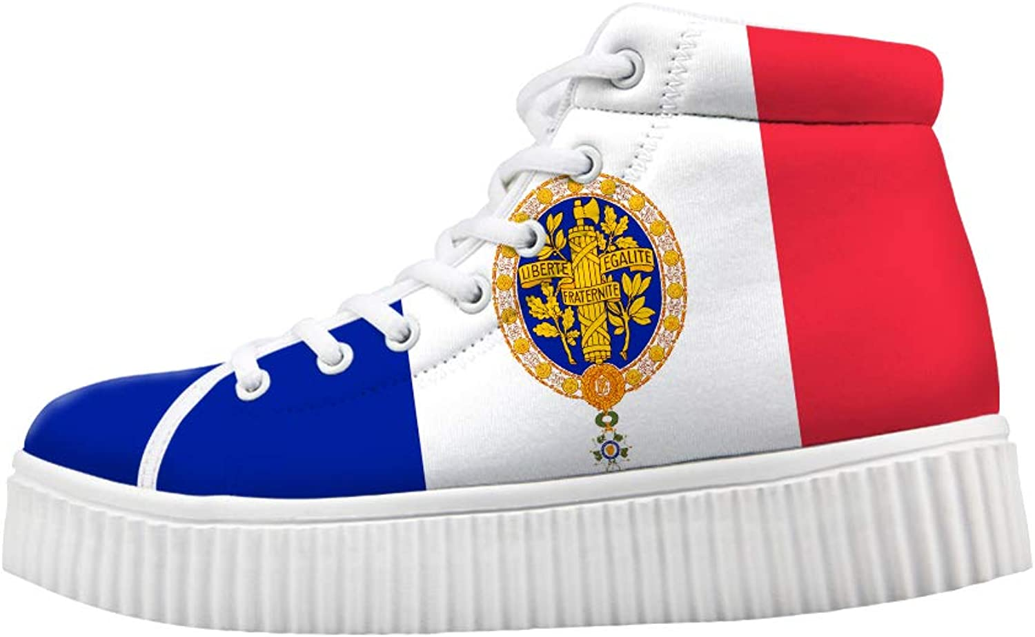 Owaheson Platform Lace up Sneaker Casual Chunky Walking shoes High Top Women France Flag National Emblem