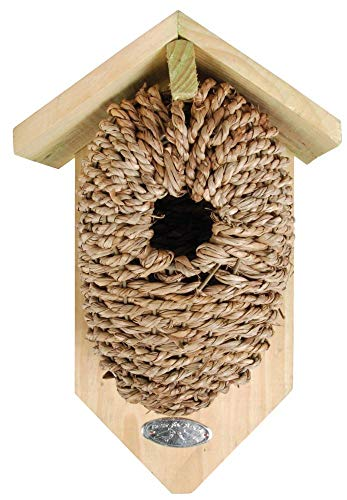 Esschert Design Nistkasten, Vogelhaus mit Höhle aus Seegrass, ca. 15 cm x 10 cm x 26 cm