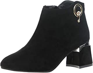 〓COOlCCI〓Ankle Boots for Women Wide Width, Pointed Toe Chunky High Heel Side Zipper Faux Suede Short Boots Mid-Calf Boots