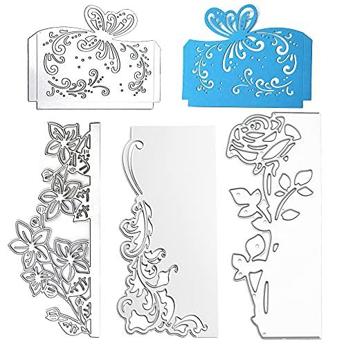 Kaimeilai 4 Pcs plantilla de perforación para tarjetas de felicitación, plantillas de metal en relieve, marcos de encaje, álbumes de recortes, troqueles de corte de rosas para tarjetas de felicitación