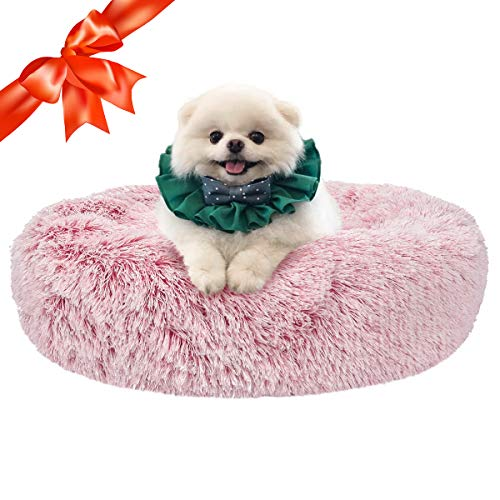 SHU UFANRO Dog Beds for Medium Small Dogs Round, Cat Cushion Bed, Calming Pet Beds Cozy Fur Donut Cuddler Improved Sleep, Washable, Non-Slip Bottom