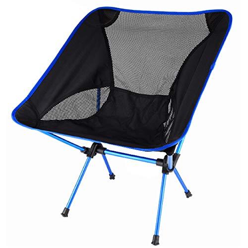 Azarxis Silla de Camping Plegable Ligera Sillas de Picnic Portátil al Aire Libre con Bolsa de Transporte para Senderismo de Viaje Mochilero Pesca Playa (Azul)