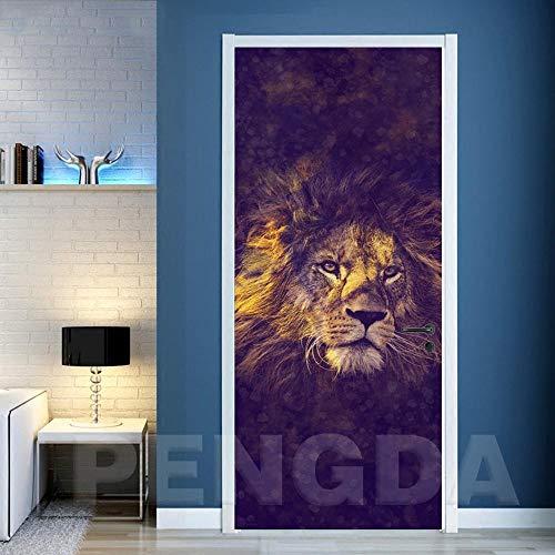 YIER Life™ Etiqueta de Puerta 3D Cartel Pegatinas Mural Tienda de Mascotas zoológico Animal león Pegatinas de Puerta murales de Pared calcomanías de Papel Pintado Puerta Etiqueta engomada de 9