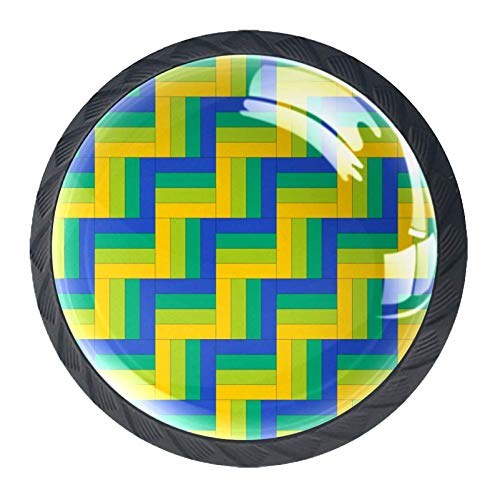 Runde Schublade Griff Geometrische Wellen Gelb Blau Kristallglas Kommode Schrank Knöpfe zieht mit Schrauben für Home Küche Kleiderschrank Schrank Schrank 4 Stück