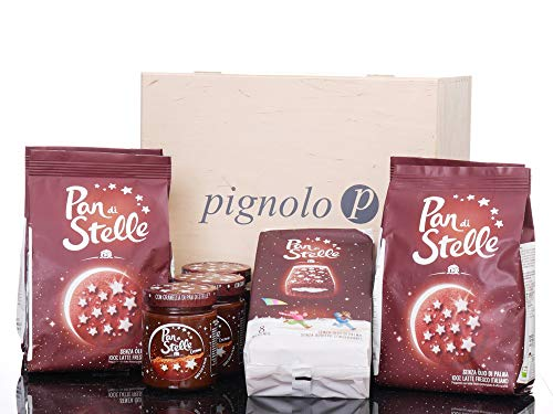 Pignolo´s Pan di stelle Holz-Box 3x330g Pan di Stelle Crema 4x 350g Pan di Stelle Kekse 1x pan di Stelle Bisquit und Holzbox