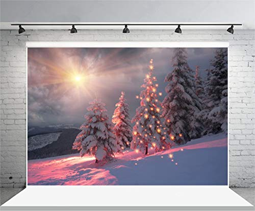 vrupi 10x6.5ft Fondo de Vinilo Fotografía Fondo Pinos Bosque Paisaje al Aire Libre Invierno Nieve Día Puesta de Sol Fondo de Naturaleza Decoración navideña Fiesta navideña Niños Baby Studio Prop