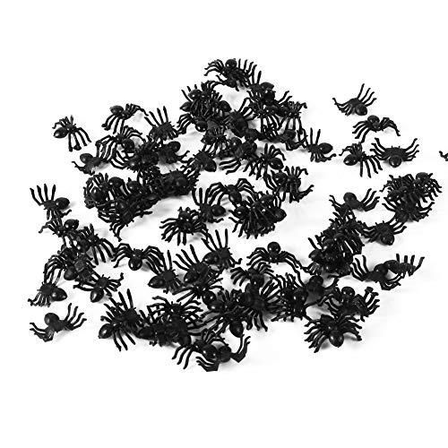 Furnoor 50pcs 2cm pequeños Juguetes de araña Falsos de plástico Negro Halloween Broma Divertida simulación Broma Prop Juguete difícil