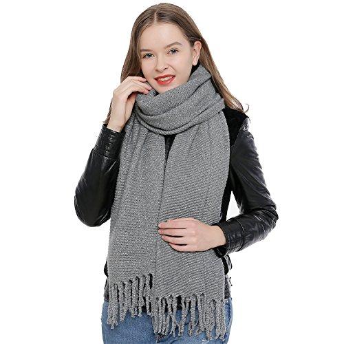 DonDon Winter Damenschal XXL Schal weich einfarbig grau