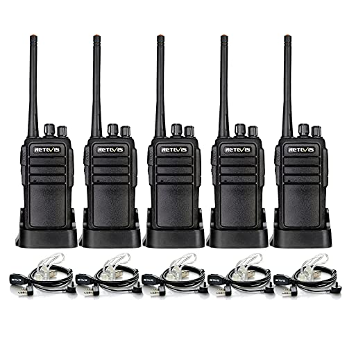 Case of 5,Retevis RT21 Walkie Talkies for Adults Long Range, Handfree Rugged Two Way Radio with Earpiece for Commercial Construction Warehouse Security 2 Way Radios