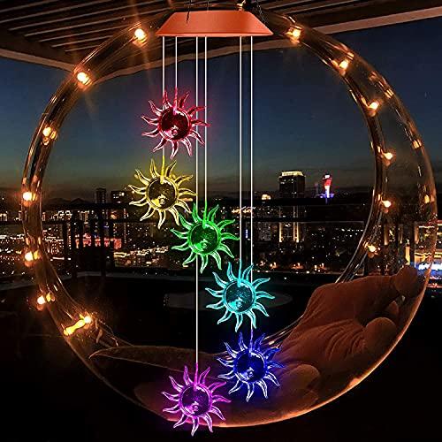 Sagekia Campanelli eolici per esterni, Campanelli a vento solare, Campanelli a vento a led che cambiano colore, Sensore di luce impermeabile Decorazioni per esterni, Regalo per San Valentino di Natale