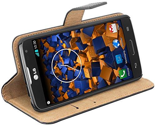 mumbi Echt Leder Bookstyle Case kompatibel mit LG L90 Hülle Leder Tasche Case Wallet, schwarz