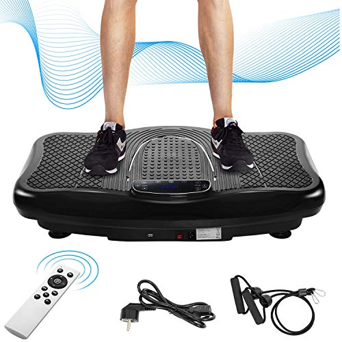 Vibrationsplatte Vibrationstrainer Profi, 2D Wipp Vibration + Bluetooth inkl. Lautsprecher, Extra große Fläche & Kraftvoller Motor & Trainingsbänder & Fernbedienung im Fitnessgerät (Weiß)
