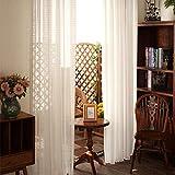 PFLife Juego de 2 cortinas de estilo rústico, vintage, clásicas, voile con bordado, semitransparente, para salón (blanco, 140 x 175 cm)