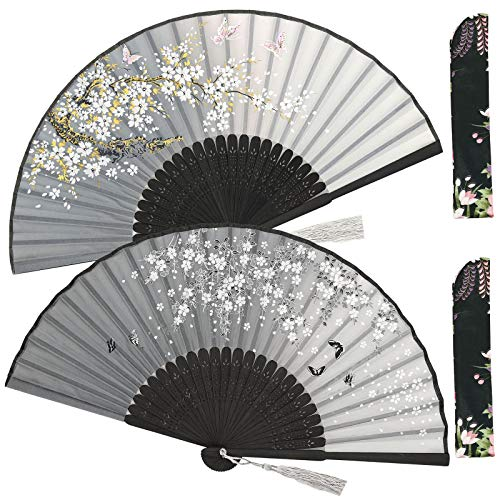 Zolee 2 PCS Small Folding Hand Fans for Women - Chinese Japanese Vintage Bamboo Silk Fans - for Dance, Performance, Decoration, Wedding, Party,Gift (Double Gray Sakura)
