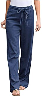 Navy White Woman/'s Casual Loose Fitting  Stretch Comfy Cool Holiday Trousers