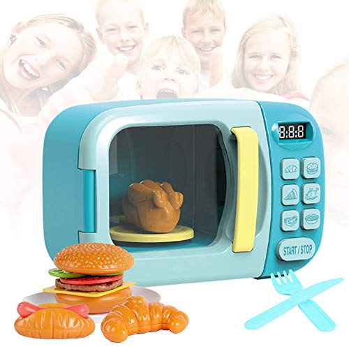 Microwave Kitchen Play Set - Kids, Children, Toddlers Pretend Play Set with Fake Food Included - Great for Toddlers 3 Years and Older (Blue)