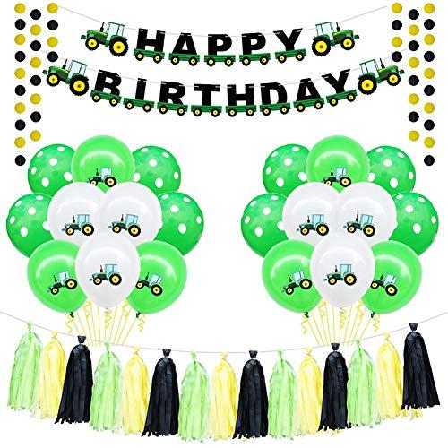 Conjunto de Globos de 20 Piezas, incluidos Globos de Confeti Amarillo Verde Tractor Excavadora de cumpleaños de vehículos Decoraciones de Fiesta de Feliz cumpleaños para niños Globos