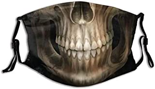 Lulupi Totenkopf Mundschutz Multifunktionstuch Halloween 3D Druck Maske Waschbar Winddicht Stoffmaske Atmungsaktiv Mund und Nasenschutz Motorrad Skull Motiv Bandana Halstuch