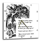 3dRose DPP_193784_2 Which Way Ought I Go from Here Cheshire Cat Alice in Wonderland & Quote Wall Clock, 13 by 13'