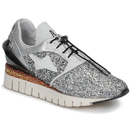 Airstep/A.S.98 Denastar Zapatillas Moda Mujeres Plata/Glitter - 38 - Zapatillas Bajas Shoes