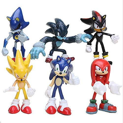 Yzoncd 6 Unids / Set Super Sonic Figura De Juguete, PVC Silver Shadow Knuckles Tails Sonic Figura Sonic Figura De Acción Modelo Juguetes 5-7Cm