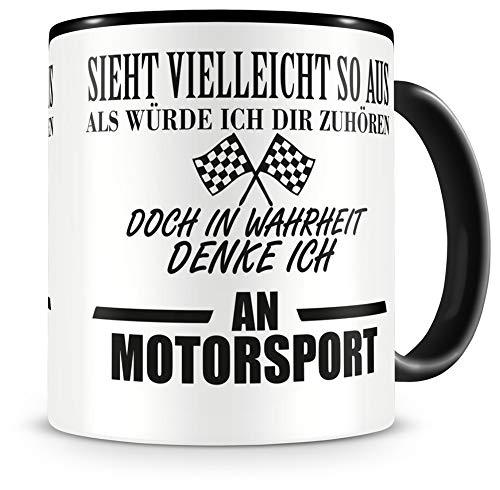 Samunshi® Ich denke an Motorsport Tasse Kaffeetasse Teetasse Kaffeepott Kaffeebecher Becher
