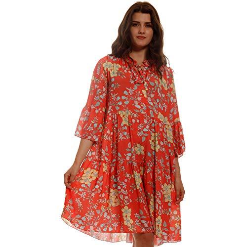 YC Fashion & Style Damen Tunika Kleid Sommer Boho Minikleid mit Blumen Allover Muster Vintage Look Party-Kleid Freizeit Minikleid für Frauen mit Kurven HP230 Made in Italy (One Size, Lachsrot)