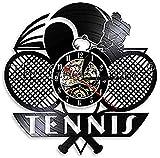 zgfeng Joueur de Tennis Grand Slam Vinyle Horloge Murale Horloge Murale Raquette De Tennis Horloge Murale Tennis Croix Décoration Horloge Murale