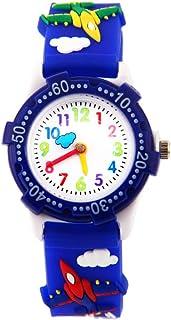 Hemobllo Kids 3D Wrist Watches Students Analog Watch Quartz Watch Waterproof Time Teacher for Kids Children (Blue)