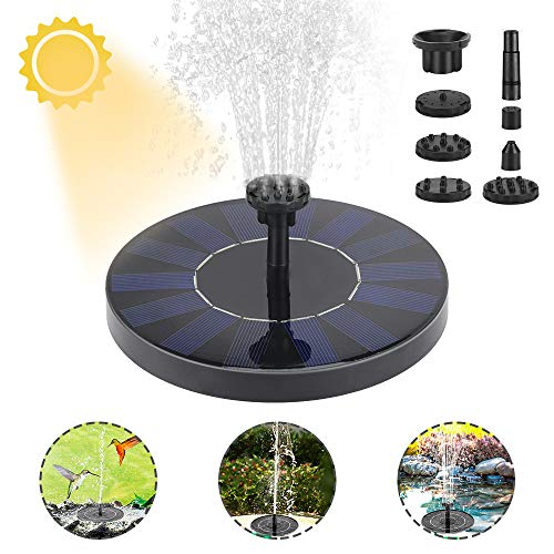 Achort Solar Springbrunnen, Solar Teichpumpe 1.5W Monokristalline Solar Panel mit 6 Effekte Solar Wasserpumpe Solar schwimmender Fontäne Pumpe für Gartenteich Springbrunnen Vogel Bad Fisch-Behälter
