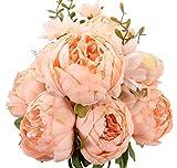 Ksnnrsng Fausses Fleurs Ancien Pivoine Artificielle Fleurs en Soie Bouquet Mariage Accueil Décoration (Printemps Orange)