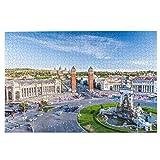 KIMDFACE Rompecabezas Puzzle 1000 Piezas,Vista de la Ciudad del Centro de Barcelona España Panorama Bus Catedral Fuente Viajes,Puzzle Educa Inteligencia Jigsaw Puzzles para Niños Adultos