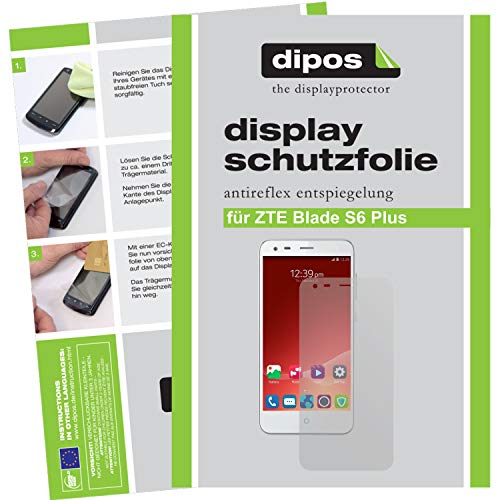 dipos I 2X Schutzfolie matt kompatibel mit ZTE Blade S6 Plus Folie Bildschirmschutzfolie