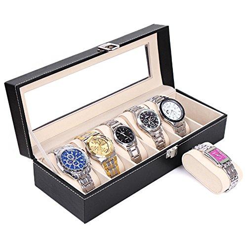 Caja de reloj de los relojes Caja de reloj para 6 relojes del reloj de las taquillas de la marca MyBeautyworld24