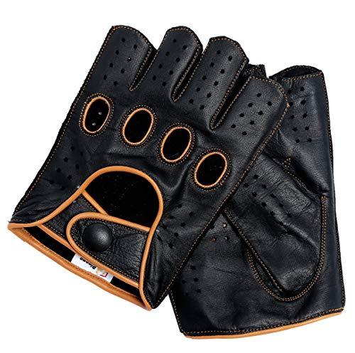 Riparo Fingerlose Motorradhandschuhe aus echtem Leder mit r/ückfester fingerloser Mitte f/ür M/änner XXX-Gro/ß Cognac