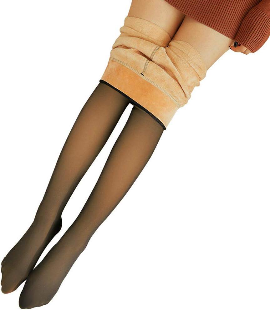 Durogs Winter Warm Leggings Elastic Legs Fake Translucent Warm Fleece Pantyhose Slim Stretchy for Winter Outdoor