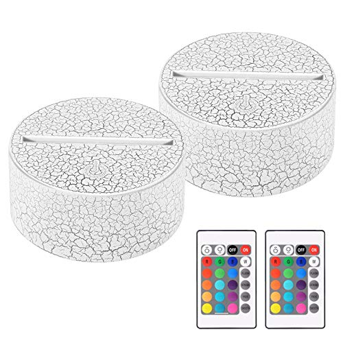 USLINSKY 2 Pack 3D Led Night Light Lamp Base, Includes Remote Control, Acrylic and Charger Cable, Adjustable 16 Colors Lights Base (Crack White)