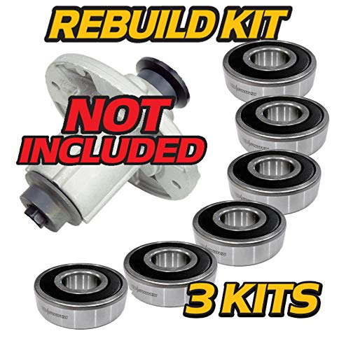 HD Switch (6 Pack) Spindle Rebuild Bearings Replaces John Deere D100 D110 D120 D130 D140 D150 D155 D160 D170 LA100 LA105 LA115 LA120 LA130 LA140 LA145 LA155 GY21098 w/HIGH Temp Grease Upgrade & C3